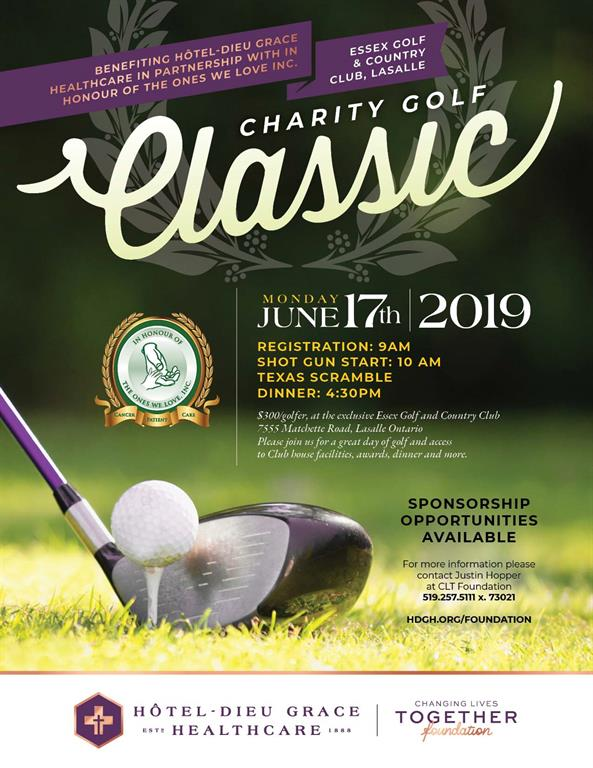 Charity Golf Classic flyer. Contact Justin at 519.257.5111 ext. 73021 for information.